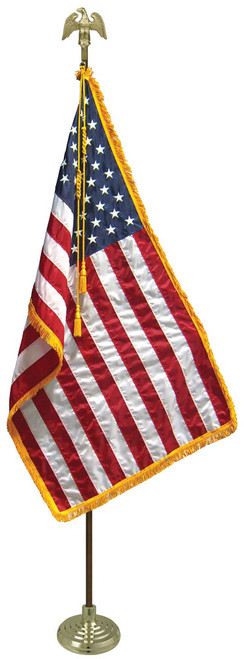 United States lobby flag fringed USA US American