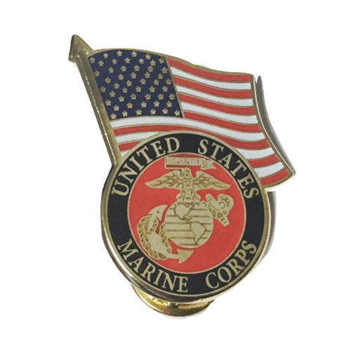 Marine / U.S. flag lapel pin