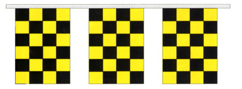 Black and Yellow Checkered Pennants