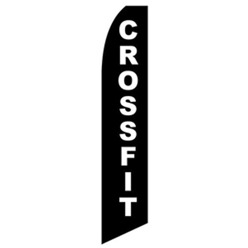 Crossfit Feather Flag White on Black