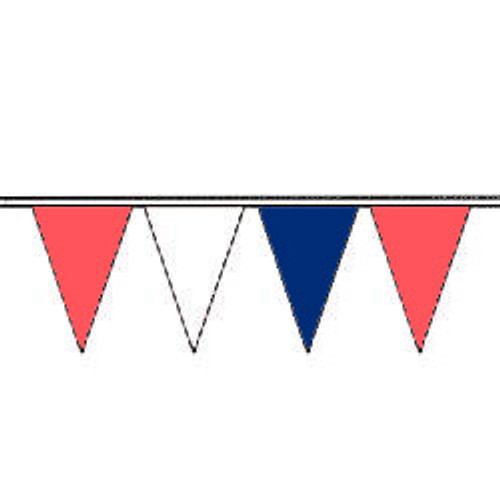 Brilliant Red, White, Deep Blue Fluorescent Pennants