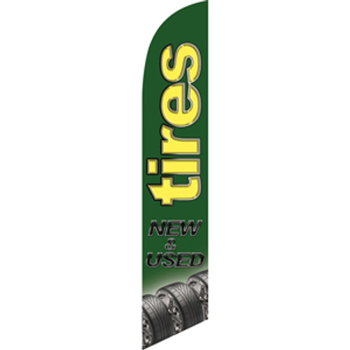 Tires New & Used (green background, yellow letters) Semi Custom Feather Flag Kit