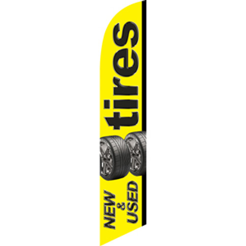 Tires New & Used (yellow background, tires near middle) Semi Custom Feather Flag Kit