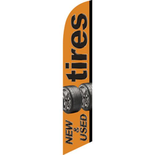 Tires New & Used (orange background) Semi Custom Feather Flag Kit