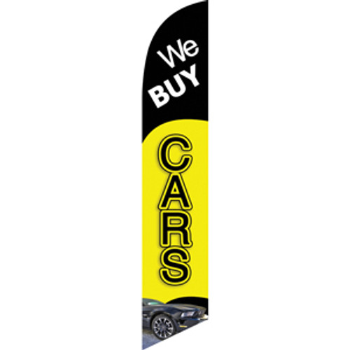 We Buy Cars (black and yellow background) Semi Custom Feather Flag Kit