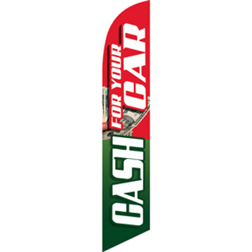 Cash For Your Car (green and red background) Semi Custom Feather Flag Kit