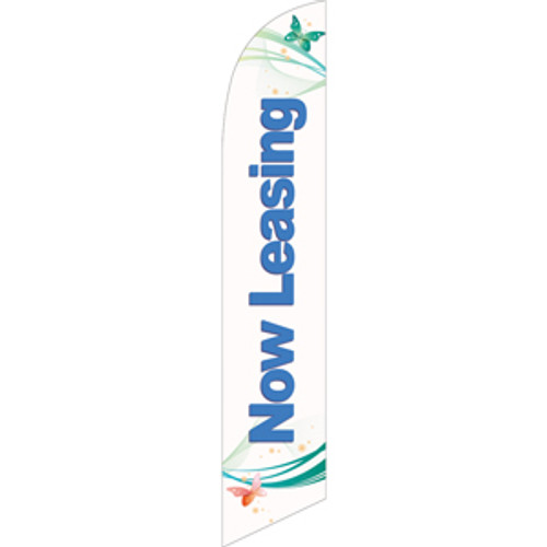 Now Leasing (blue letters) Semi Custom Feather Flag Kit