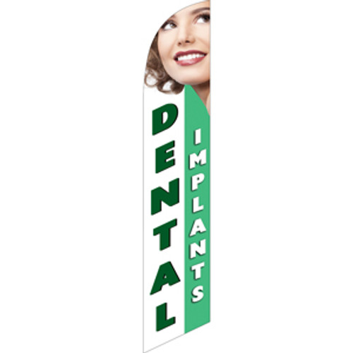 Dental Implants (white and light green background) Semi Custom Feather Flag Kit