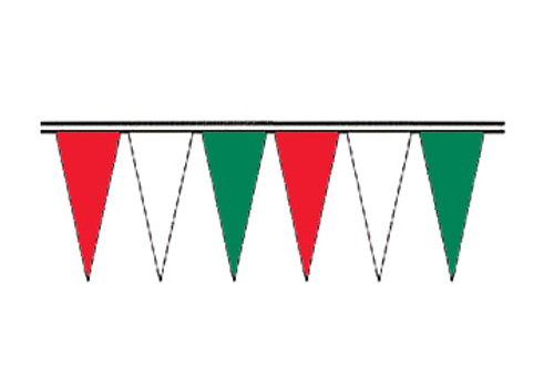 Red, White and Green Economy Icicle Pennants 4 mil