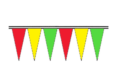 Red, Yellow and Green Fluorescent Icicle Pennants
