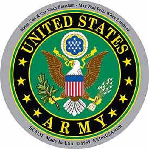 "U.S. Army circular decal. Size: 3 1/4"" (diameter)"