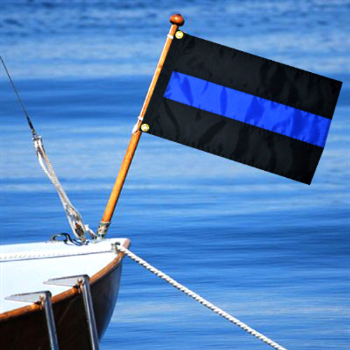 Thin Blue Line Boat Motorcycle Police Flag