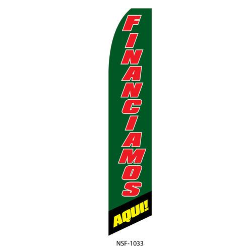 Financiamos Aqui Feather Flag green