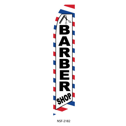 Barber Feather Flag red white blue