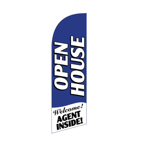 Open House Agent Inside 6ft Feather Flag blue