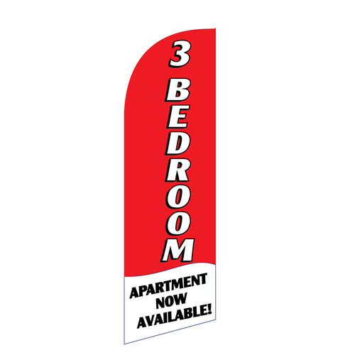 3 BR Apartment 6ft Feather Flag red