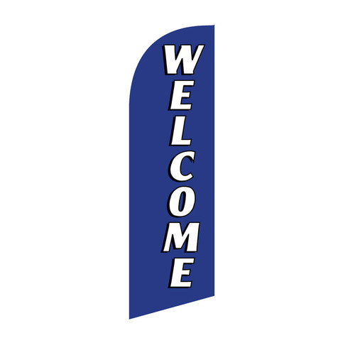 Welcome 6ft Feather Flag blue