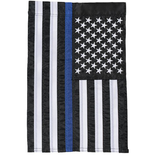 Thin Blue Line American Police Garden Flag Embroidered