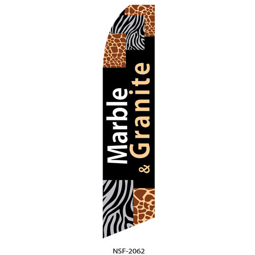 Marble & Granite (black background) Feather Flag