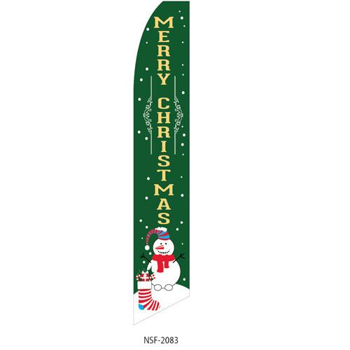 Merry Christmas (snowman) Feather Flag