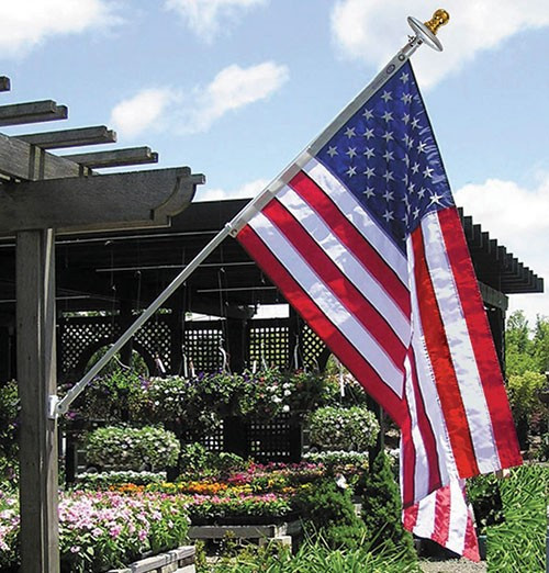 Spinning Pole Set with US Flag and Solar Light