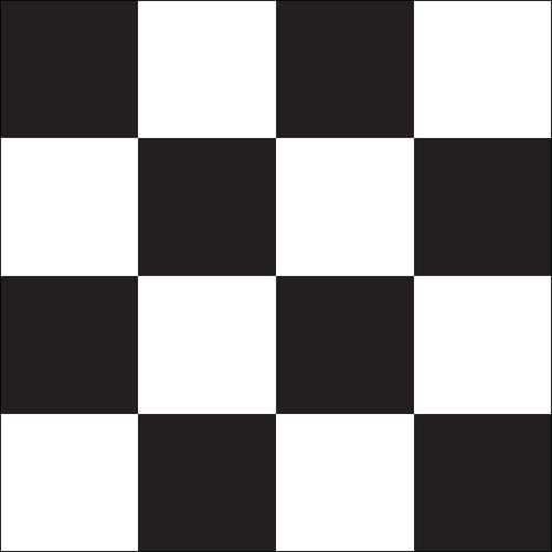 "Black & White Checkered Auto Racing Flag 30"" x 30"" - Mounted"