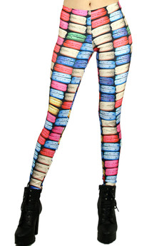 Front side image of Wholesale Graphic Printed Macaroon Rainbow Leggings