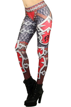 Left side leg image of Wholesale Graphic Print Red Steel Armor Leggings