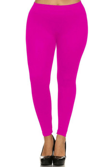 Front side image of Wholesale Full Length Neon Nylon Spandex Plus Size Leggings