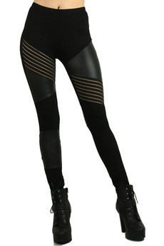 Wholesale Multi Panel Sexy Faux Leather Leggings
