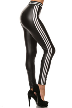 Wholesale Striped Faux Leather leggings