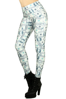 Wholesale Graphic Print Money Leggings