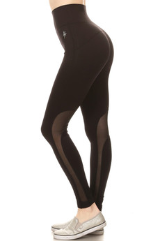 Wholesale High Waisted Blacky Mesh Workout Leggings