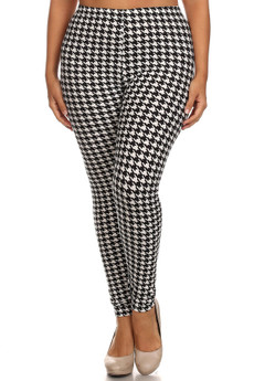 Front side image of Wholesale Buttery Soft Plus Size White Houndstooth Leggings - 3X-5X