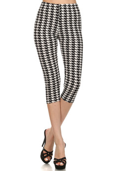 Front image of  Wholesale Buttery Soft Houndstooth Capris
