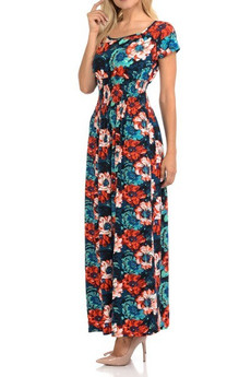 Wholesale Buttery Soft Short Sleeve Painted Floral Maxi Dress