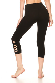 Wholesale Symmetrical Slashed Workout Capri
