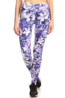 Wholesale Premium Brushed High Waisted Indigo Floral Sport Leggings