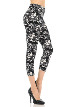 Wholesale Buttery Soft Black Layers of Skulls Capris