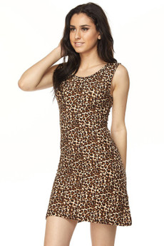 Wholesale Buttery Soft Leopard Criss Cross Strap Mini Dress