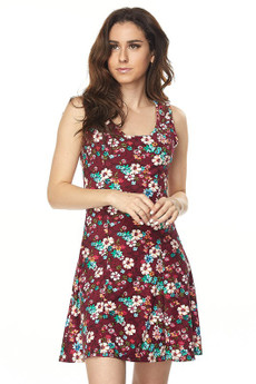 Wholesale Buttery Soft Burgundy Daisy Fit and Flare Dress