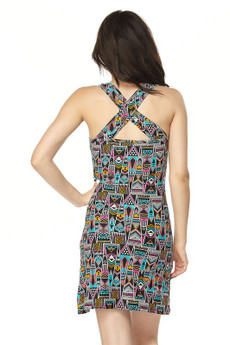 Wholesale Buttery Soft Zesty Tribal Cross Back Dress