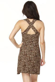 Wholesale Buttery Soft Leopard Print Cross Back Dress