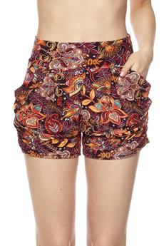 Wholesale Buttery Soft Floral Mezzanine Harem Shorts