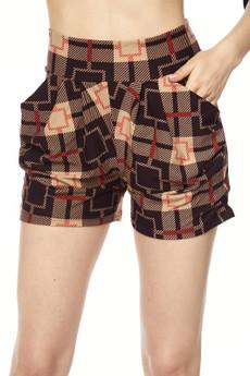 Wholesale Buttery Soft Dark Moda Squares Harem Shorts