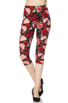 Front image of Wholesale Buttery Soft Vivid Rose Capris
