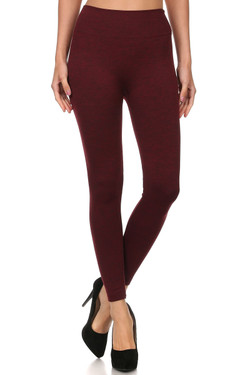 Front image of SL15FL20 - Heathered High Waist Fleece Lined Leggings