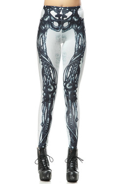 Wholesale Premium Graphic White Steampunk Skeleton Leggings