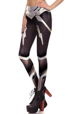 Left side leg image of DP-1674KDK - Wholesale Premium Graphic Leggings