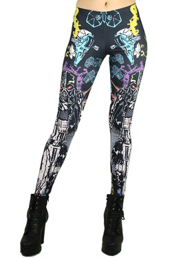 Front side image of Wholesale Premium Graphic Cartoon Vader Leggings